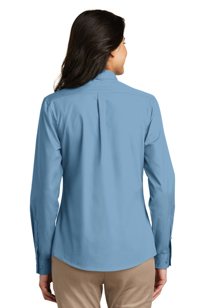 Port Authority LW100 Womens Carefree Stain Resistant Long Sleeve Button Down Shirt Carolina Blue Back
