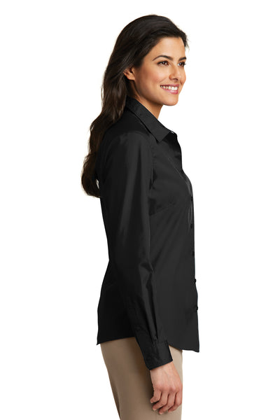 Port Authority LW100 Womens Carefree Stain Resistant Long Sleeve Button Down Shirt Black Side