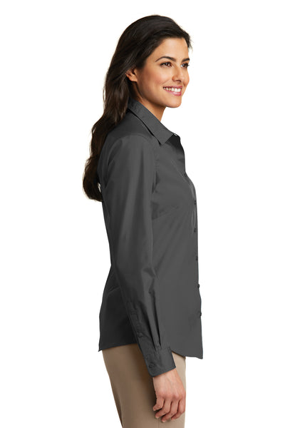Port Authority LW100 Womens Carefree Stain Resistant Long Sleeve Button Down Shirt Graphite Grey Side