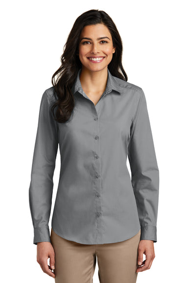 Port Authority LW100 Womens Carefree Stain Resistant Long Sleeve Button Down Shirt Gusty Grey Front