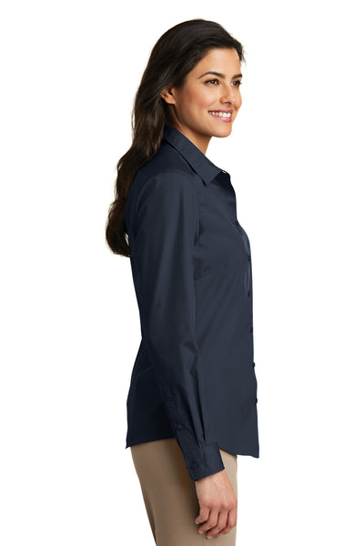 Port Authority LW100 Womens Carefree Stain Resistant Long Sleeve Button Down Shirt Navy Blue Side
