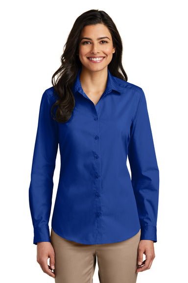 Port Authority LW100 Womens Carefree Stain Resistant Long Sleeve Button Down Shirt Royal Blue Front