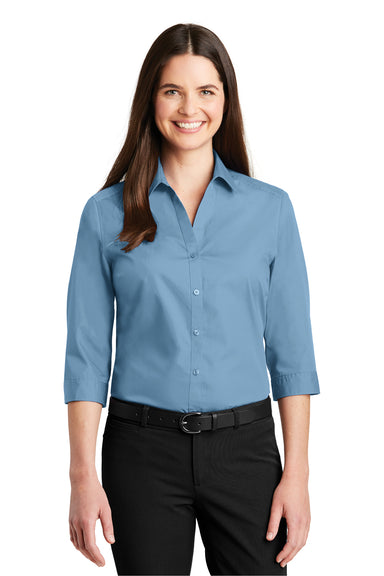 Port Authority LW102 Womens Carefree Stain Resistant 3/4 Sleeve Button Down Shirt Carolina Blue Front