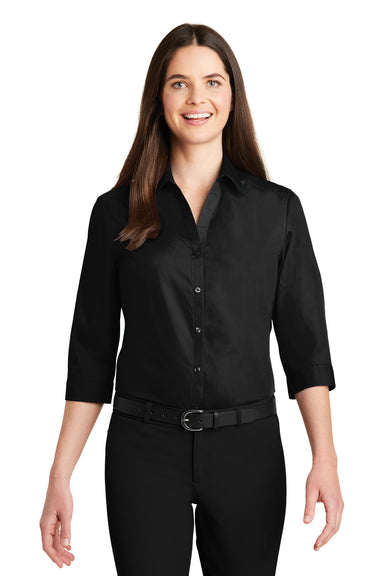 Port Authority LW102 Womens Carefree Stain Resistant 3/4 Sleeve Button Down Shirt Black Front