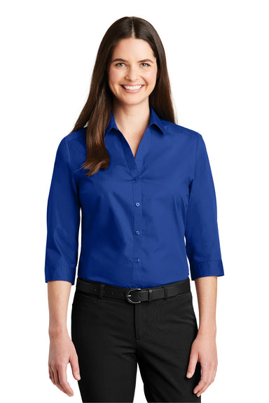 Port Authority LW102 Womens Carefree Stain Resistant 3/4 Sleeve Button Down Shirt Royal Blue Front