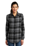 Port Authority LW668 Womens Flannel Long Sleeve Button Down Shirt Grey/Black Front