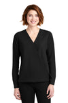 Port Authority LW702 Womens Long Sleeve V-Neck T-Shirt Black Front