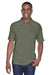 Harriton M211 Mens Advantage Tactical Moisture Wicking Short Sleeve Polo Shirt Tactical Green Front