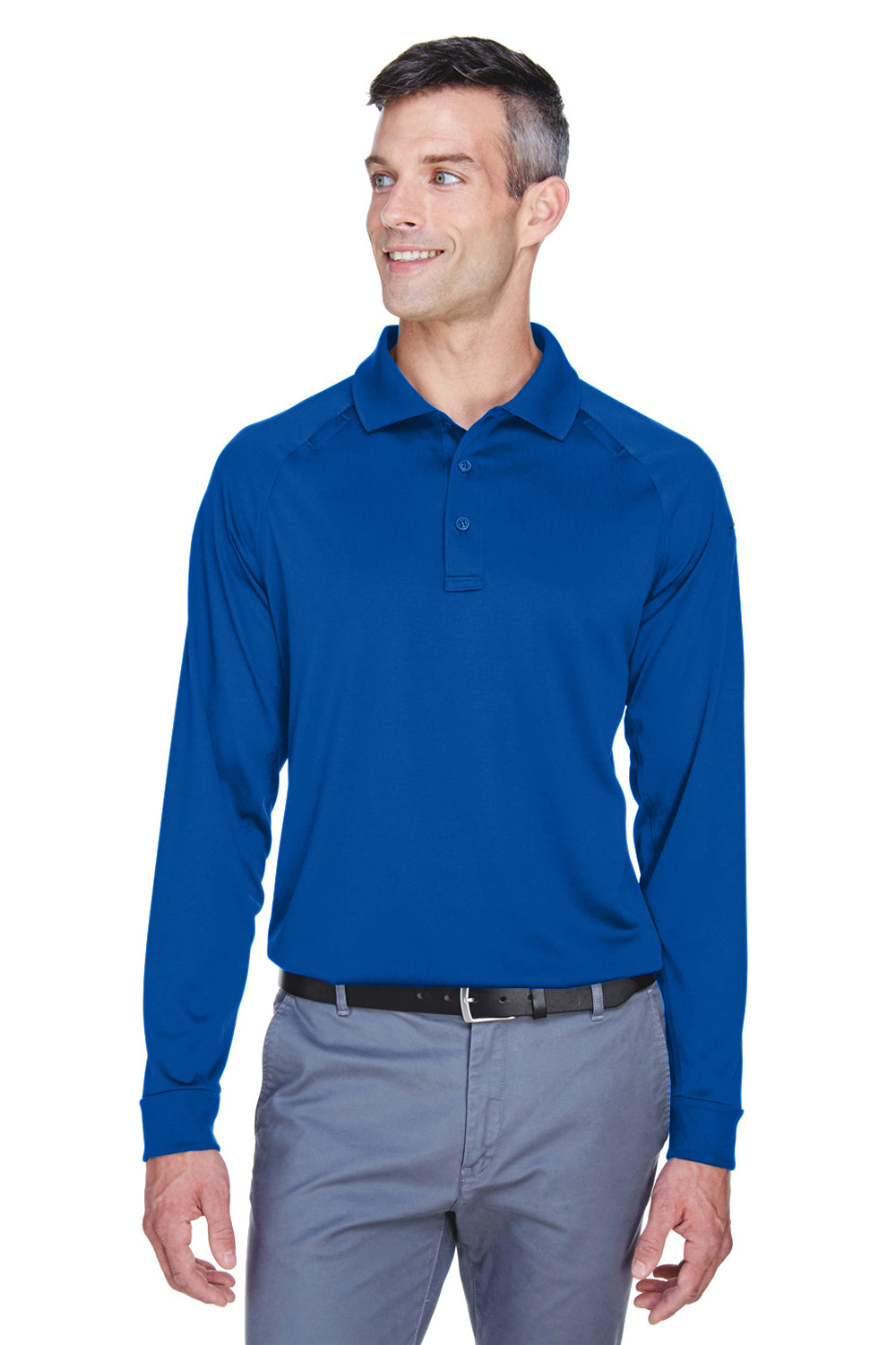 Harriton M211L Advantage Tactical Moisture Wicking Long Sleeve Polo Shirt Royal Blue Front