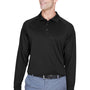 Harriton Mens Advantage Tactical Moisture Wicking Long Sleeve Polo Shirt - Black