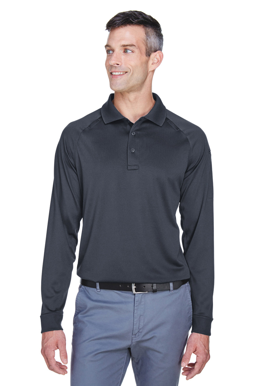 Harriton M211L Mens Advantage Tactical Moisture Wicking Long Sleeve Polo Shirt Charcoal Grey Front