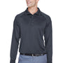Harriton Mens Advantage Tactical Moisture Wicking Long Sleeve Polo Shirt - Dark Charcoal Grey