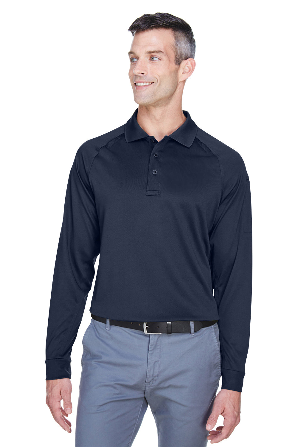 Harriton M211L Mens Advantage Tactical Moisture Wicking Long Sleeve Polo Shirt Navy Blue Front