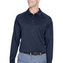 Harriton Mens Advantage Tactical Moisture Wicking Long Sleeve Polo Shirt - Dark Navy Blue