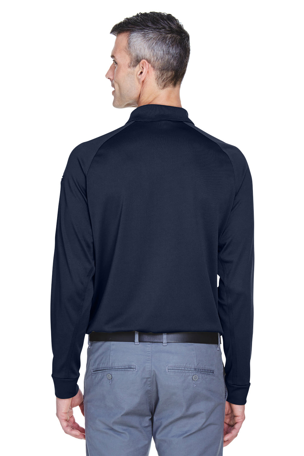 Harriton M211L Mens Advantage Tactical Moisture Wicking Long Sleeve Polo Shirt Navy Blue Back