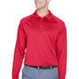 Harriton Mens Advantage Tactical Moisture Wicking Long Sleeve Polo Shirt - Red