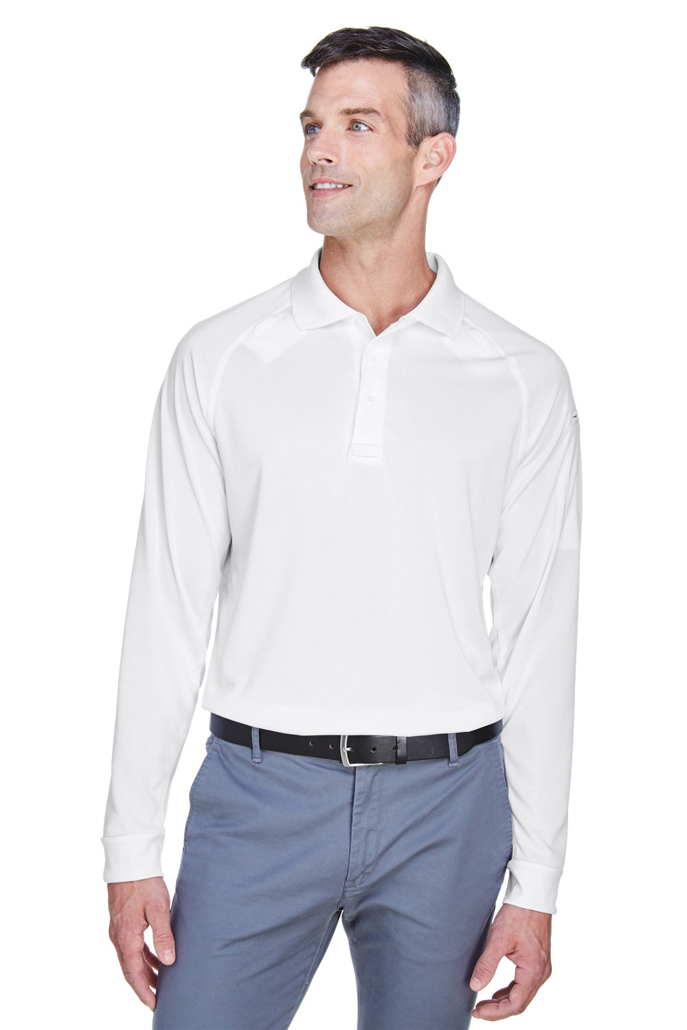 Harriton M211L Mens Advantage Tactical Moisture Wicking Long Sleeve Polo Shirt White Front