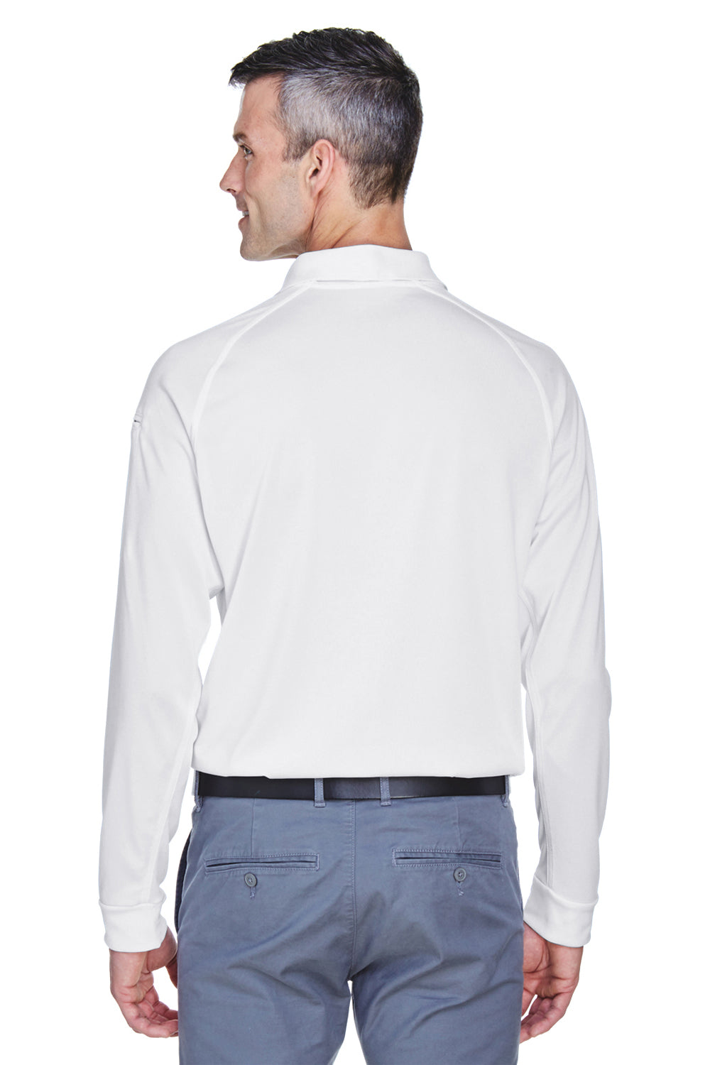 Harriton M211L Mens Advantage Tactical Moisture Wicking Long Sleeve Polo Shirt White Back