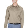 Harriton Mens Advantage Tactical Moisture Wicking Long Sleeve Polo Shirt - Desert Khaki