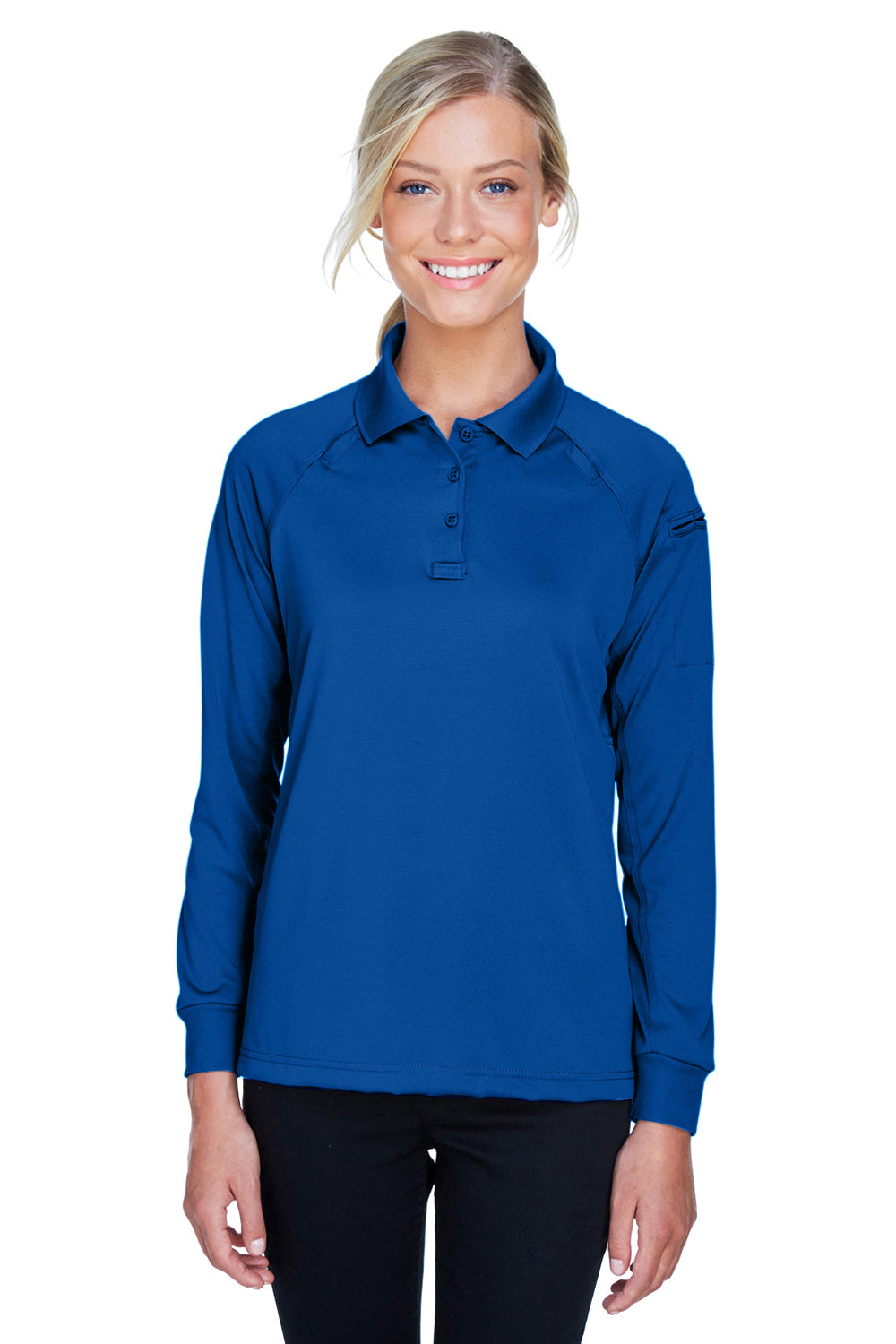 Harriton M211LW Advantage Tactical Moisture Wicking Long Sleeve Polo Shirt Royal Blue Front