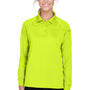 Harriton Womens Advantage Tactical Moisture Wicking Long Sleeve Polo Shirt - Safety Yellow