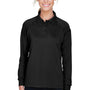 Harriton Womens Advantage Tactical Moisture Wicking Long Sleeve Polo Shirt - Black