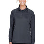 Harriton Womens Advantage Tactical Moisture Wicking Long Sleeve Polo Shirt - Dark Charcoal Grey