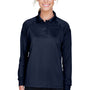 Harriton Womens Advantage Tactical Moisture Wicking Long Sleeve Polo Shirt - Dark Navy Blue