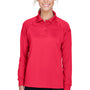 Harriton Womens Advantage Tactical Moisture Wicking Long Sleeve Polo Shirt - Red