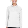 Harriton Womens Advantage Tactical Moisture Wicking Long Sleeve Polo Shirt - White