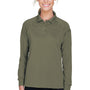 Harriton Womens Advantage Tactical Moisture Wicking Long Sleeve Polo Shirt - Tactical Green