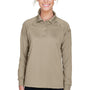 Harriton Womens Advantage Tactical Moisture Wicking Long Sleeve Polo Shirt - Desert Khaki