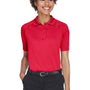 Harriton Womens Advantage Tactical Moisture Wicking Short Sleeve Polo Shirt - Red