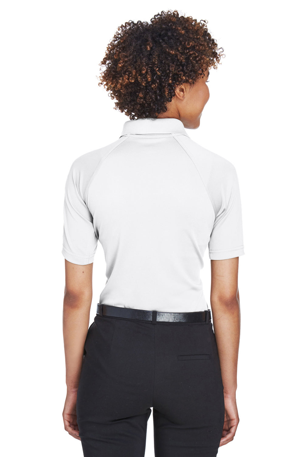 Harriton M211W Womens Advantage Tactical Moisture Wicking Short Sleeve Polo Shirt White Back