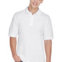 Harriton Mens Easy Blend Wrinkle Resistant Short Sleeve Polo Shirt - White