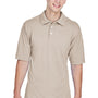 Harriton Mens Easy Blend Wrinkle Resistant Short Sleeve Polo Shirt - Stone