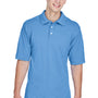 Harriton Mens Easy Blend Wrinkle Resistant Short Sleeve Polo Shirt - Light College Blue