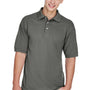 Harriton Mens Easy Blend Wrinkle Resistant Short Sleeve Polo Shirt - Charcoal Grey