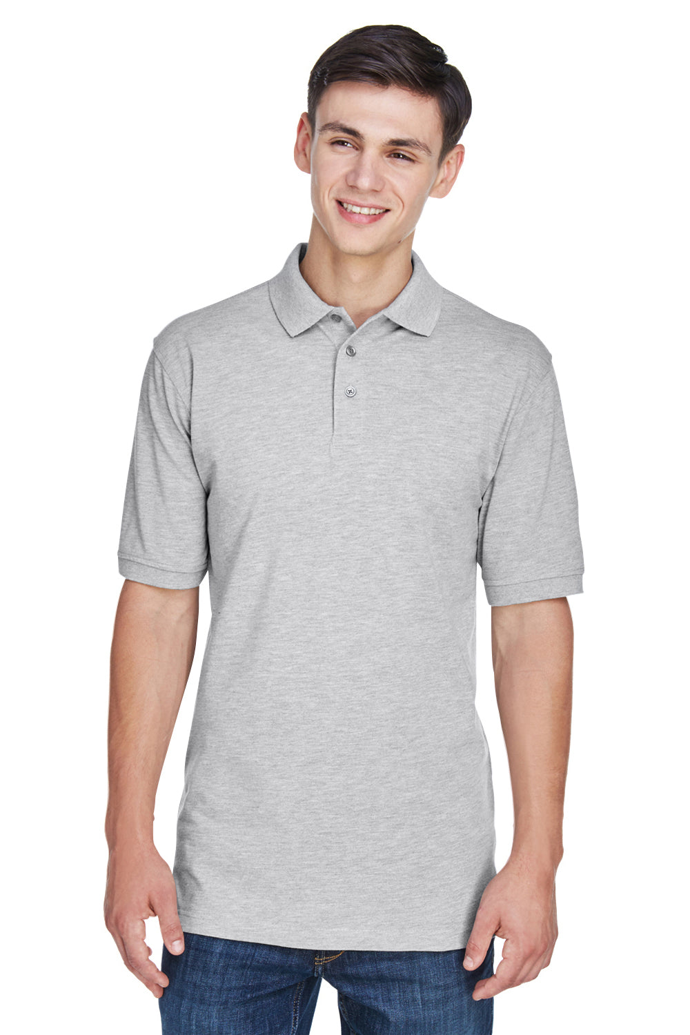 Harriton M265 Mens Easy Blend Wrinkle Resistant Short Sleeve Polo Shirt Heather Grey Front