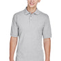 Harriton Mens Easy Blend Wrinkle Resistant Short Sleeve Polo Shirt - Heather Grey