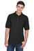 Harriton M265 Mens Easy Blend Wrinkle Resistant Short Sleeve Polo Shirt Black Front