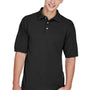 Harriton Mens Easy Blend Wrinkle Resistant Short Sleeve Polo Shirt - Black