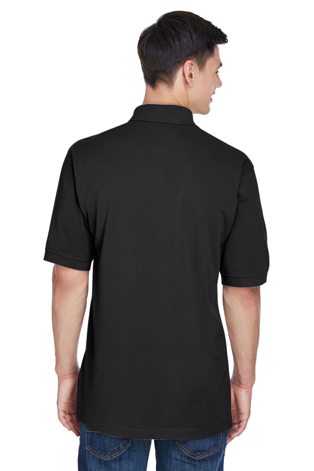 Harriton M265 Mens Easy Blend Wrinkle Resistant Short Sleeve Polo Shirt Black Back