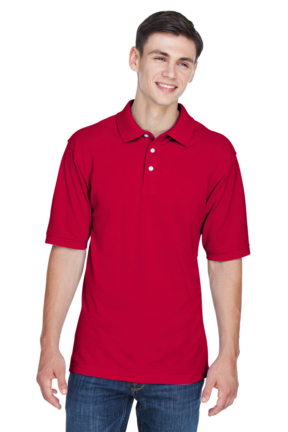 Harriton M265 Mens Easy Blend Wrinkle Resistant Short Sleeve Polo Shirt Red Front