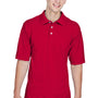 Harriton Mens Easy Blend Wrinkle Resistant Short Sleeve Polo Shirt - Red