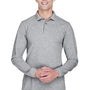 Harriton Mens Easy Blend Wrinkle Resistant Long Sleeve Polo Shirt - Heather Grey