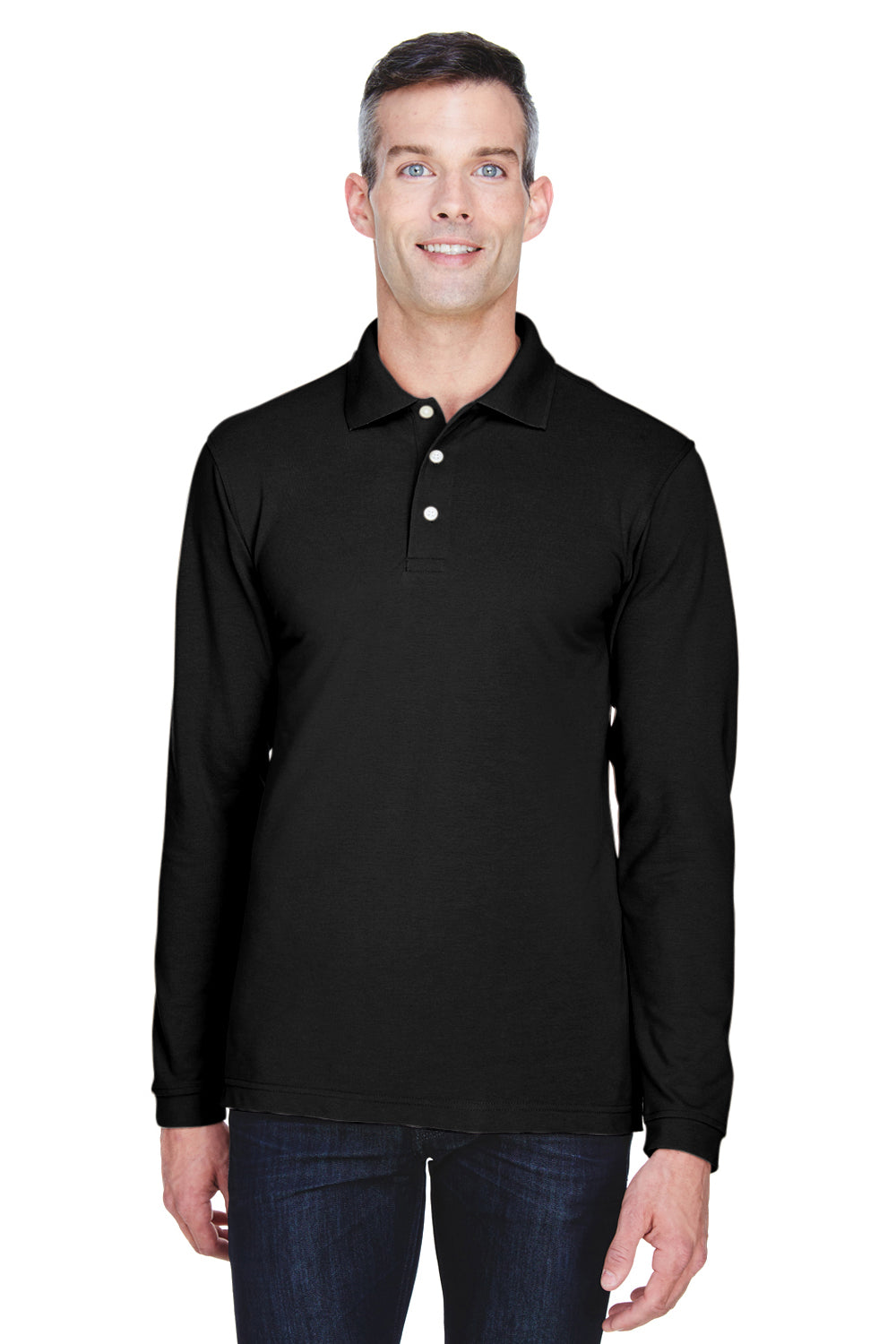 Harriton M265L Mens Easy Blend Wrinkle Resistant Long Sleeve Polo Shirt Black Front