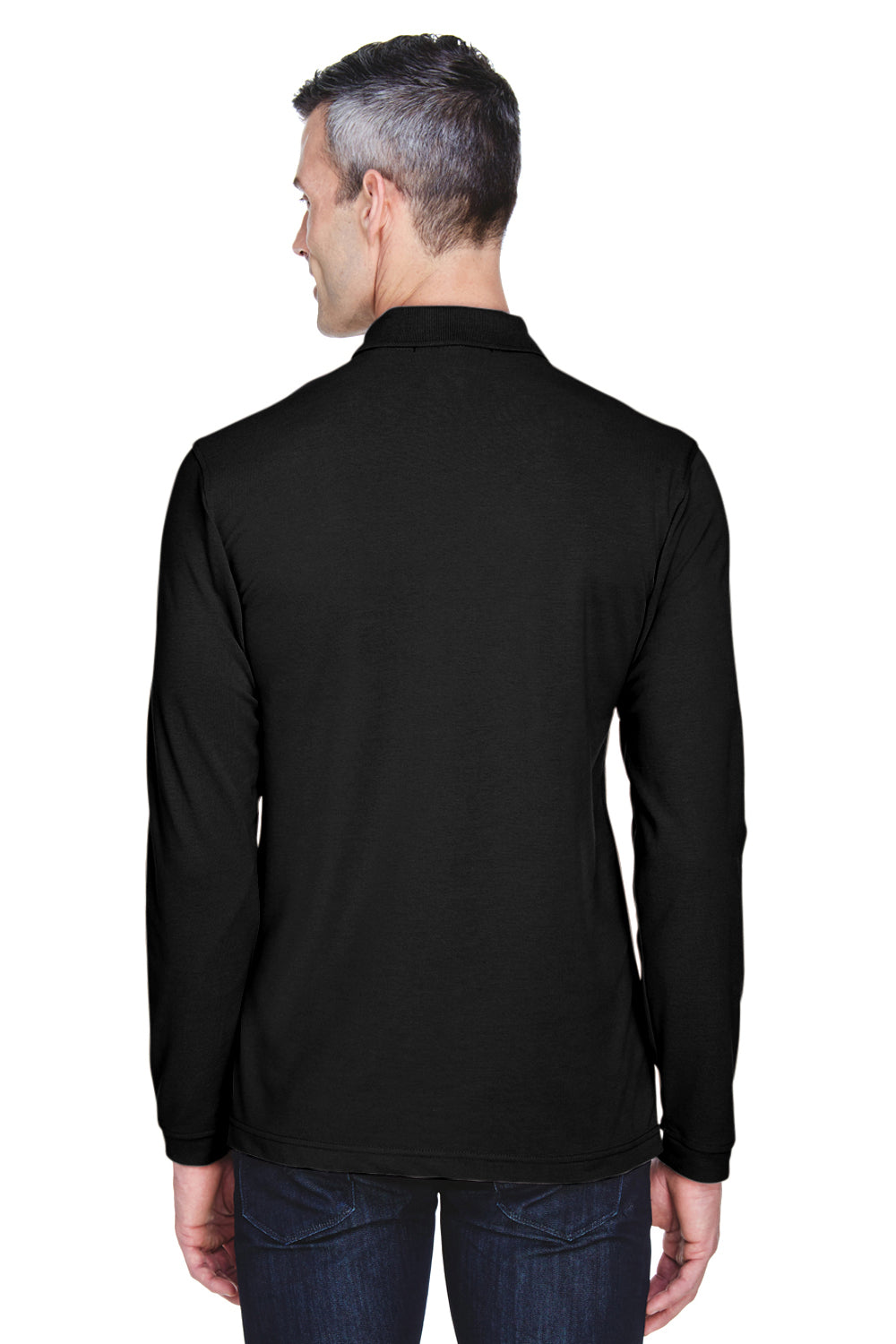 Harriton M265L Mens Easy Blend Wrinkle Resistant Long Sleeve Polo Shirt Black Back