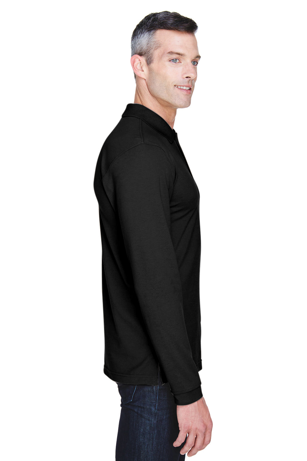 Harriton M265L Mens Easy Blend Wrinkle Resistant Long Sleeve Polo Shirt Black Side