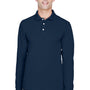 Harriton Mens Easy Blend Wrinkle Resistant Long Sleeve Polo Shirt - Navy Blue